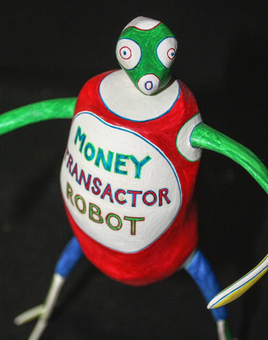 Money Transactor Robot, head moved to its left